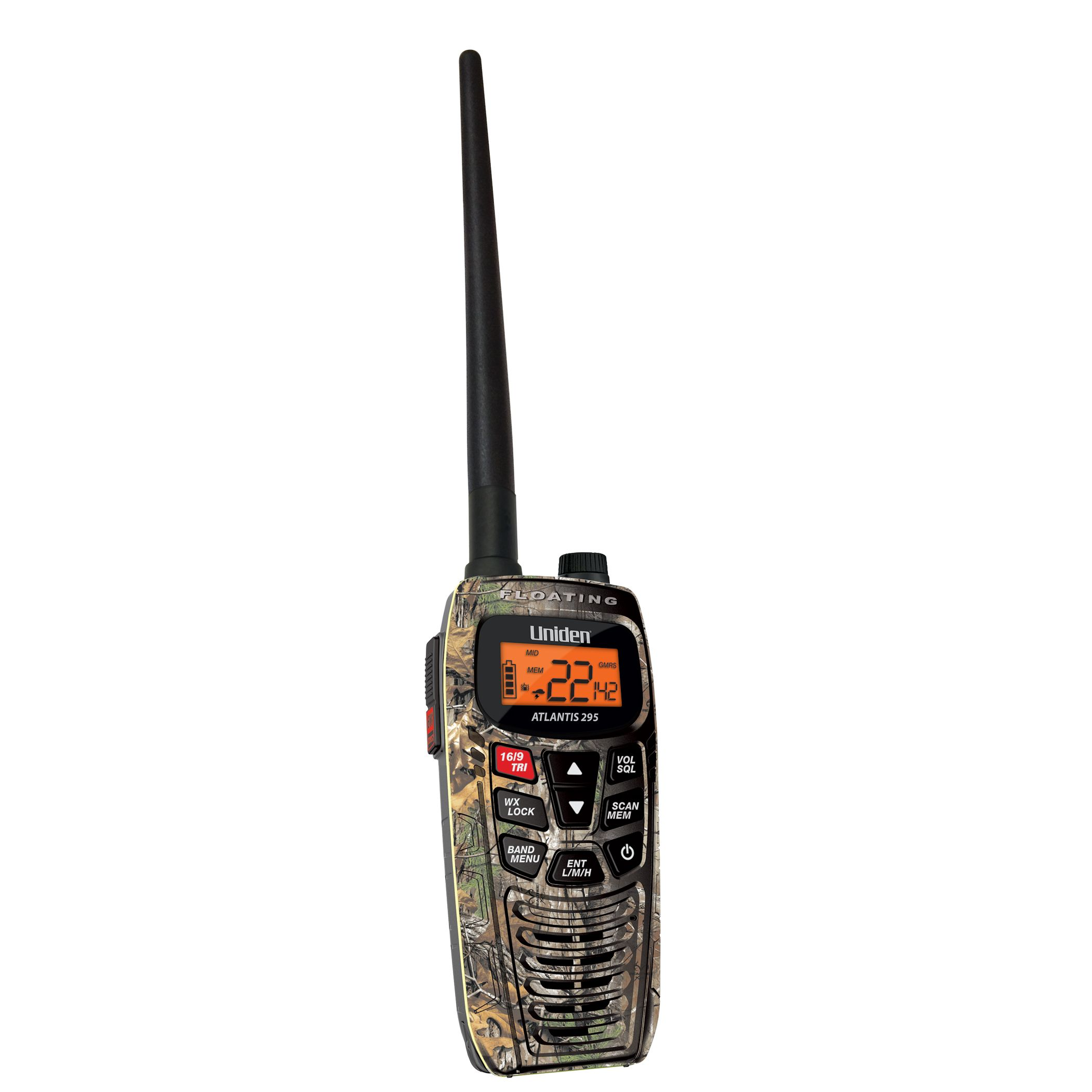 ATLANTIS295 - Uniden Dual Band VHF/GMRS Radio With Call Alert Vibrate Camo