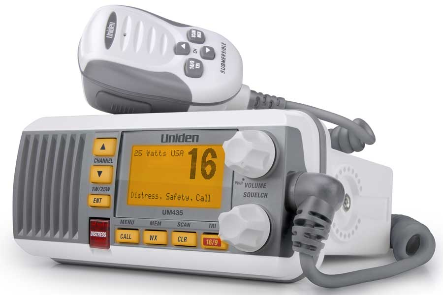 UM435 - Uniden Fixed-Mount VHF Radio (White) with Handheld Microphone